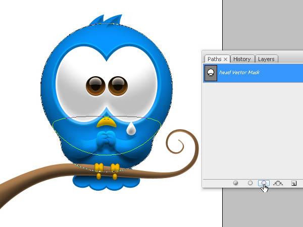 七十二、让我们收缩选区5或6个像素.-制作蓝色可爱小鸟图标的PS教