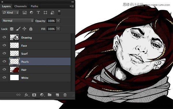 photoshop绘制水墨风格的人物插画教程,瓷像教程 云峰轩瓷