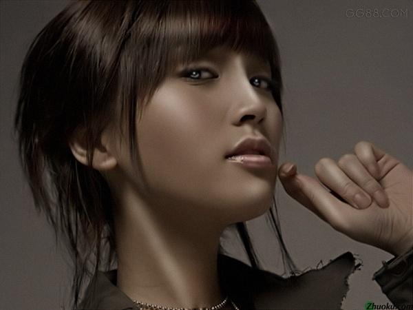 PS调出质感古铜色皮肤的美女照片 云峰轩写真瓷像照片技术学习