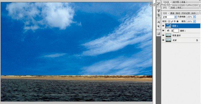 3.添加蒙版处理结合处-Photoshop给灰蒙蒙的照片添加蓝天白云背景